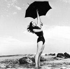 vintagegal:  Vampira at the beach, 1954