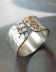 tree rings jewelry, metalwork jewelry, jewelleri, autumn tree, style