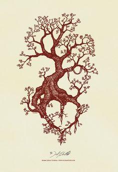 tattoo ideas, tree tattoos, tree roots tattoo, art prints, tree tattoo design