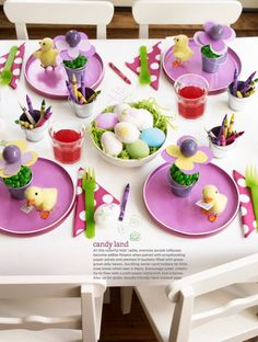Colorful candy kids table for Easter