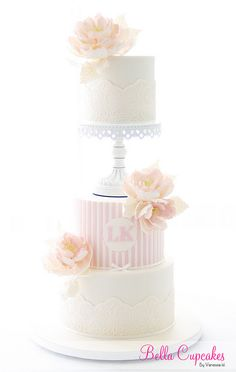 Lace & Peonies awesom cake, cake ya, beauti cake, cake idea, cake inspir, cake decor, bella cupcak, design cakescupcak, peoni