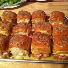 Best Ham Sammies 1 pkg. Hawaiin Sweet Rolls  1 stick of  butter 2 t Worcestershire sauce 1 t Garlic Powder 1 t Onion Powder 1 t poppy seeds  Place the bottoms of rolls in  pan and place a slice of ham. Cut the cheese into quarters & place 1 or 2 on ham. Stir spices/seeds into melted butter. Brush on tops.  Bake @375/15 mins.