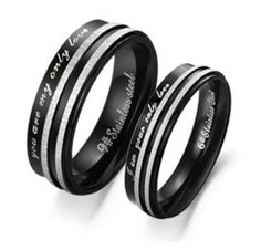 "Stainless Steel ""You Are My Only Love"" Engraved Couple Rings Set for Engagement, Promise, Eternity R017 (His Size 7,8,9,10; Hers Size 5,6,7,..."