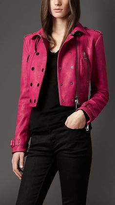 Burberry London Cropped Leather Biker Jacket