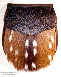 Axis Deer hide sporran with custom tooled Celtic Knot & Red Deer flap.