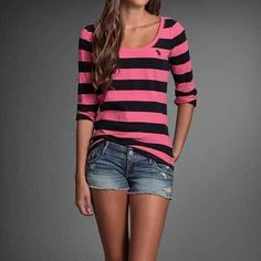 Pink And Black Quarter Sleeve. Denim Shorts. Teen Fashion. By-Iheartfashion14   →follow←