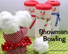 Christmas Activity for Kids: Snowman Bowling - Great Family gathering game or indoor winter fun. How do you entertain the kids during holiday gatherings?