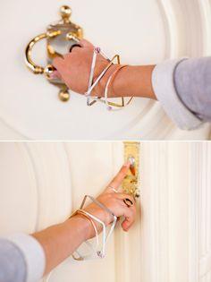 DIY: geometric bangles bracelet, diy geometr, insid jewelri, jewelri string, bend metal, geometr bangl, bangles, diy easi, metal geometr