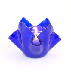 Cobalt Blue Fused Glass Candle Holder Handmade by Nostalgianmore, $30.00