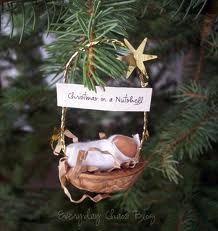 holiday, shell craft, kids christmas, christmas crafts, walnut shell, babi jesus, christmas ornaments, baby in nutshell, christma craft