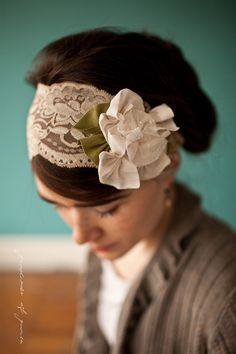 Magnolias in Lace Caramel - Garlands of Grace Something special headband 2012. $34.00, via Etsy.