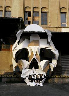 public spaces, clemen behr, building materials, street art, the artist, art installations, paper boxes, skull art, sculptur