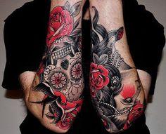 sleeves #tattoos #sleeve #arm #arms #tattooed #skull #gypsy #black #red #rose #roses #sugar #skulls