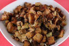 Slow Cooker Stuffing with Apple and Sausage Recipe - A great way to save oven space while baking a holiday meal!