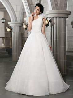 New One Shoulder Lace Ruching Tulle Wedding Dress