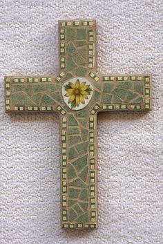"6 x 9"" cross using broken plates"