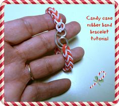 Candy cane rubber band bracelet tutorial