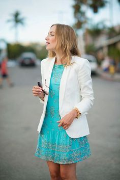LoLus Fashion: Lovely Embroidered Dress With White Blazer Awesome...