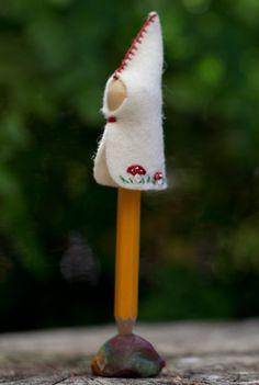 felt gnome pencil top DIY craft kit by ZuzuAndMe on Etsy