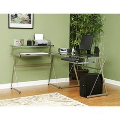 Mainstays L-Shaped Desk, Champagne and Clear Glass