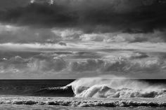 Black & white surfing/wave scene. Photo by Shawn Parkin