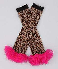 Take a look at this Hot Pink Leopard Ruffle Leg Warmers by Sparkle Couture on #zulily today!