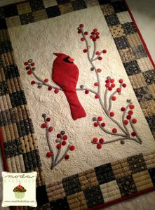 Redbird and Berries Decorative Mini Quilt