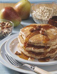 Oaty Pear 'N Pecan Pancakes Recipe | http://www.quakeroats.com/