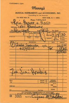 receipt for Jimi Hendrix Fender Stratocaster #274260 bought at Manny Music, NY on 7/14/70