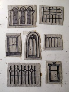 carved stamps - windows, doors & fences   Would be great on fairy houses