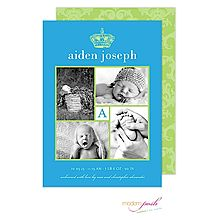 Posh Prince Crown Birth Announcement Photo Cards in Teal & Lime with 4 photos and initial From Little Angel Announcements