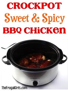 Crockpot Sweet and Spicy BBQ Chicken Recipe - from http://TheFrugalGirls.com