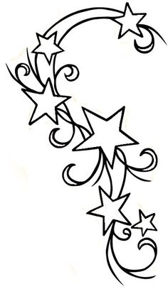 cute tattoo design for my shoulder but Change some of the stars into small flowers