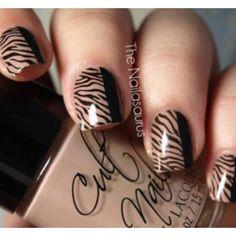 Brown zebra print nail art