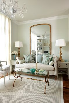 mirror, wall colors, sarah richardson, interior design, coffee tables, living rooms, blue, live room, gold accents