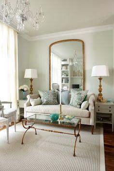 cream, blue + gold living room