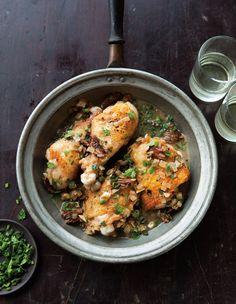 Braised Chicken with Shallots & Mushrooms