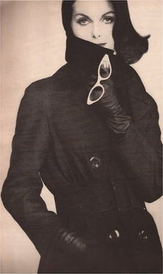 Anne St.Marie  Mysterious Flirtation  Black silk Murray Nieman trench with May:Kobley & Stern sunglasses    photography Tom Palumbo, Vogue 1959