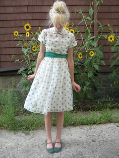 1950's Sheer Dotted Dress
