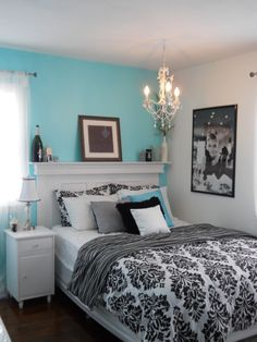 bedding, headboard, color schemes, guest bedrooms, tiffany blue, breakfast at tiffanys, audrey hepburn, black white, guest rooms