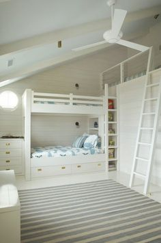 bunks and a loft - except for the all white colour scheme, this is an awesome layout for kids room