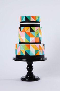 Pretty Color Blocking Geometric Cake