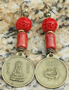 Red China Coral Earrings: Chinese Red Coral, Cinnabar and Brass Dragon Coin Dangle Earrings $60.00
