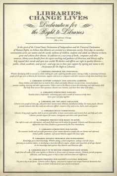 America's Right to Libraries - Libraries Change Lives: Declaration for the Right to Libraries (American Library Association)