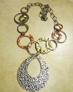 Chain Necklace, Hammered Oval Pend, multi colored, 50% off