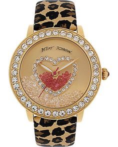 Gold Leopard Strap Watch Betsey Johnson $155- I don't care for the strap, but I love the face of the watch