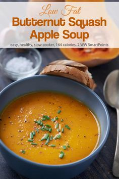 Brimming with butternut squash and apples, it's not only good, it's good for you too. Creamy and satisfying, it's hard to believe there's no cream in this Low-Fat Slow Cooker Squash Apple Soup! #slowcookersquashapplesoup #squashapplesoup #lowfatsquashsoup #soup #weightwatchers #ww