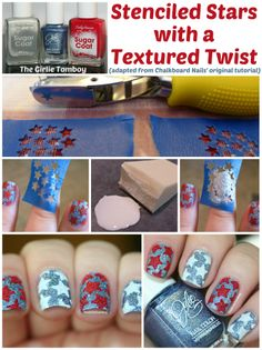 The Girlie Tomboy: Try That Tutorial Tuesday | Stenciled Stars with a Textured Twist Pictorial #nailart