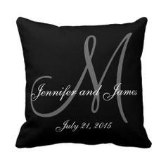 Black White Monogram Names Wedding Keepsake Pillow