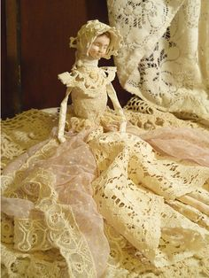 """Vintage Art Doll, Handmade Fabric Body and Vintage Lace, Crochet & Doilies. """"READY TO SHIP"""""""